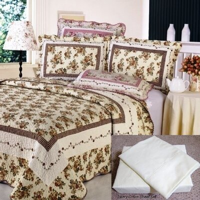 7 Piece Reversible Quilt Set Size: Full / Queen