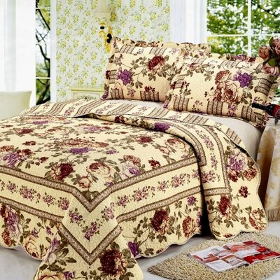 Modern Chic Microfiber 3 Piece Queen Quilt Set