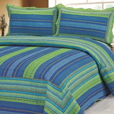 Stripe 2 Piece Twin Quilt Set Color: Blue / Green
