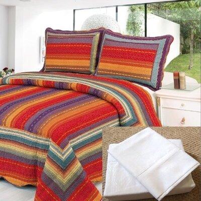 7 Piece Reversible Quilt Set Size: King