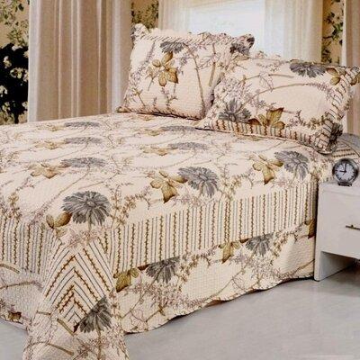 Natural Cotton Reversible 3 Piece Quilt Set