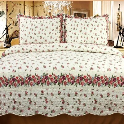 Rose Chic 3 Piece Reversible Quilt Set Size: King