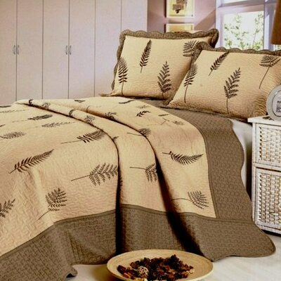 Leaf 3 Piece Reversible Quilt Set Size: Full / Queen