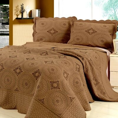 Embroidery Microfiber 3 Piece Reversible Quilt Set Size: King