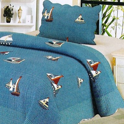 Denim Boat 2 Piece Twin Quilt Set