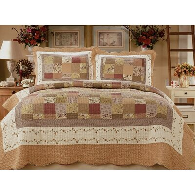 Natural Cotton Reversible 3 Piece Quilt Set Size: King