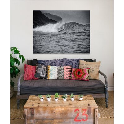 "'Wave' by Ed Fladung Photographic Print on Wrapped Canvas in Black and White Size: 18"" H x 24"" W x 1.5"" D KINEDX025CV1824"