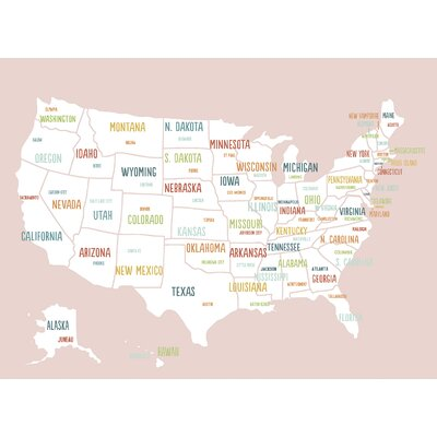 USA Map on Wrapped Canvas Art Size: 24