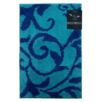 Archangel Ivy Microfiber Bath Mat Size: 20 x 30, Color: Light Blue / Navy