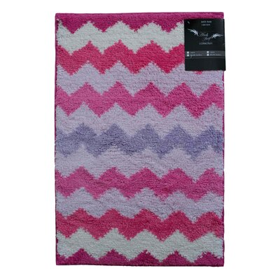 Archangel Chevron Microfiber Bath Mat Color: Pink, Size: 20 x 60