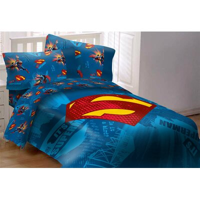 Superman Emblem 4 Piece Reversible Comforter Set