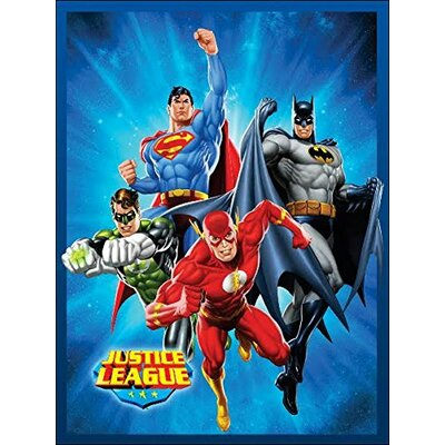 Justice League (Superman, Batman, The Flash, and Green Lantern) STARBURST Luxury Plush Polyester Throw Blanket