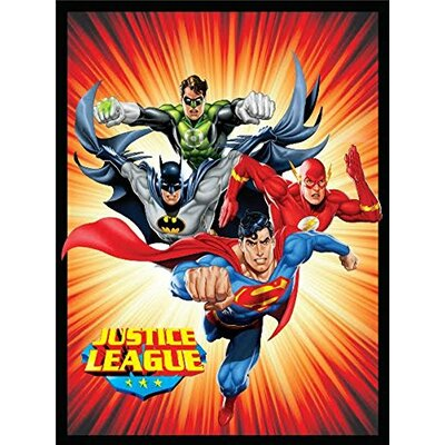 Justice League (Superman, Batman, The Flash, and Green Lantern) Sunburst Luxury Plush Polyester Throw Blanket BA0201