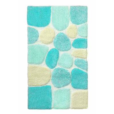 Archangel Ultra Soft Embossed Pebble Stone Bath Mat Color: Blue, Size: 21 x 32
