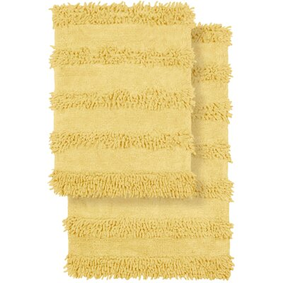 2 Piece Modern Cotton Chenille Solid Bath Mat Rug Set Color: Lemon