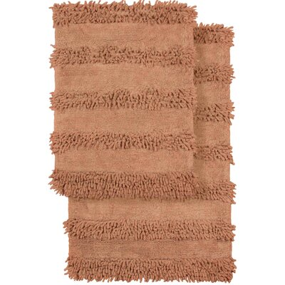 2 Piece Modern Cotton Chenille Solid Bath Mat Rug Set Color: Peach