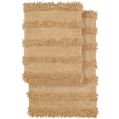 2 Piece Modern Cotton Chenille Solid Bath Mat Rug Set Color: Beige