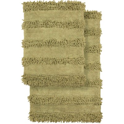 2 Piece Modern Cotton Chenille Solid Bath Mat Rug Set Color: Green