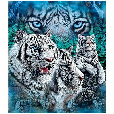 12 White Tigers Hidden Mink Blanket