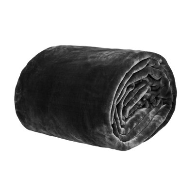Azura Ultra Soft Korean Mink Reversible Blanket Size: King, Color: Black