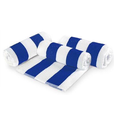 Cabana Stripe Cotton 6 Piece Beach Towel Set Color: Blue
