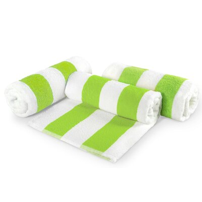 Cabana Stripe Cotton 6 Piece Beach Towel Set Color: Green
