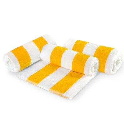 Cabana Stripe Cotton 6 Piece Beach Towel Set Color: Yellow