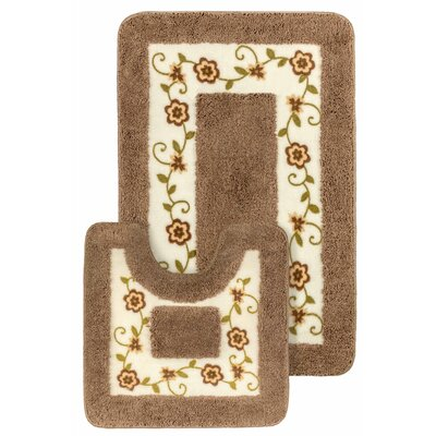15 Piece Floral Bath Mat and Shower Curtain Set Color: Brown