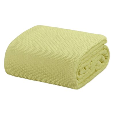 All Season Thermal Waffle Cotton Throw Blanket Color: Light Green, Size: King