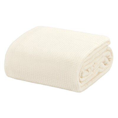 All Season Thermal Waffle Cotton Throw Blanket Color: Ivory, Size: King