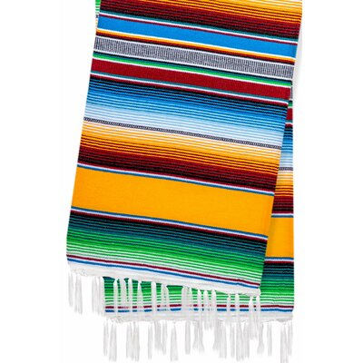 Hand-Crafted Rainbow Mexican Saltillo Serape Yoga Blanket Color: Yellow