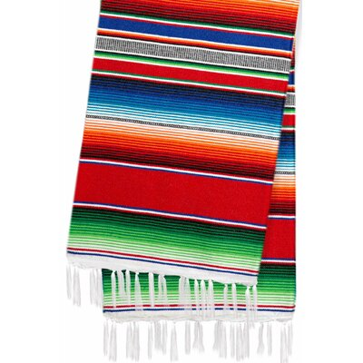 Hand-Crafted Rainbow Mexican Saltillo Serape Yoga Blanket Color: Red