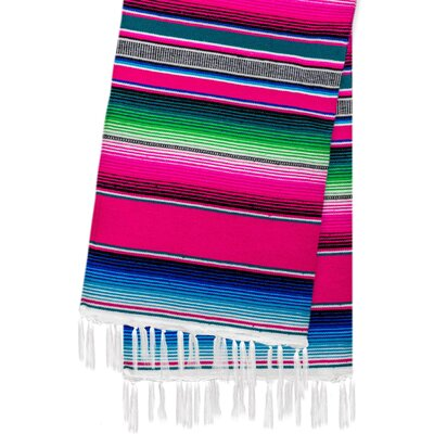 Hand-Crafted Rainbow Mexican Saltillo Serape Yoga Blanket Color: Pink