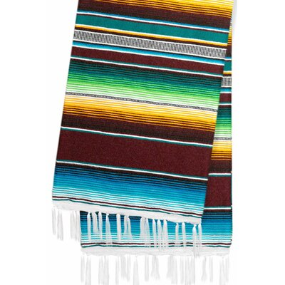 Hand-Crafted Rainbow Mexican Saltillo Serape Yoga Blanket Color: Brown