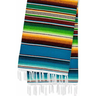 Hand-Crafted Rainbow Mexican Saltillo Serape Yoga Blanket Color: Navy Blue