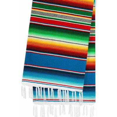 Hand-Crafted Rainbow Mexican Saltillo Serape Yoga Blanket Color: Aqua