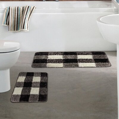 2 Piece Microfiber Checkered Bath Mat Set