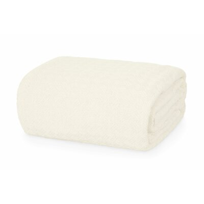 All Season Thermal Weave Design Cotton Blanket Color: Cream, Size: Queen