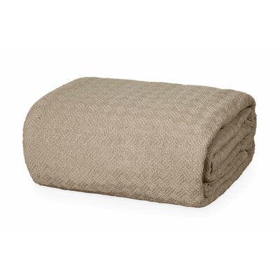 All Season Thermal Weave Design Cotton Blanket Color: Taupe, Size: King