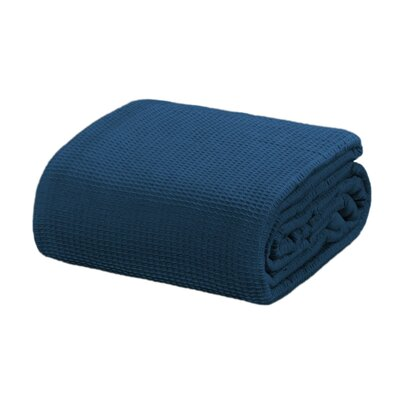 Ricardo Thermal Waffle Cotton Throw Blanket Size: King, Color: Deep Blue