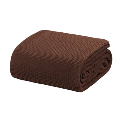 Ricardo Thermal Waffle Cotton Throw Blanket Size: King, Color: Brown