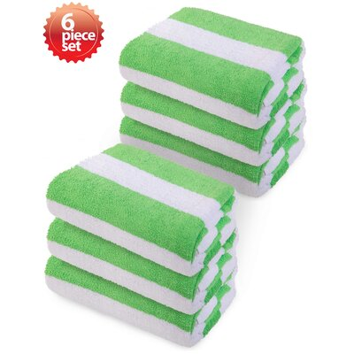 Laney Striped Beach Towel Color: Green
