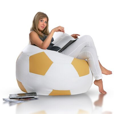 Bean Bag Chair Upholstery: White / Gold