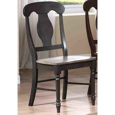 Napoleon Solid Wood Dining Chair Finish: Grey Stone / Black Stone