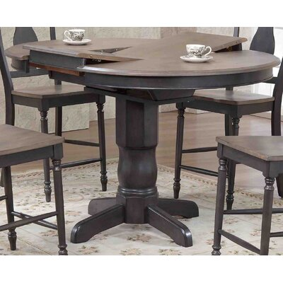 Round Counter Height Pub Table Finish: Gray Stone/Black Stone
