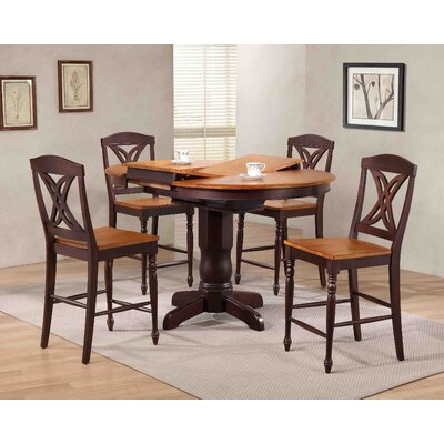 Butterfly Back Counter Height 5 Piece Pub Table Set Color: Whiskey/Mocha