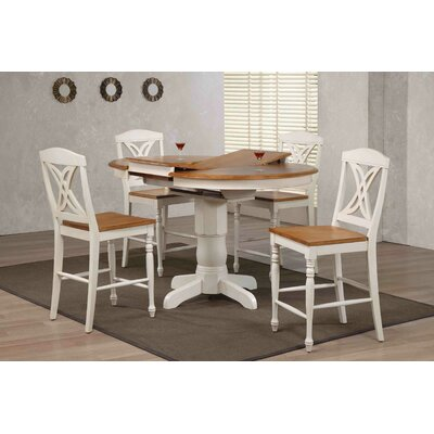 Butterfly Back Counter Height 5 Piece Pub Table Set Finish: Caramel/Biscotti