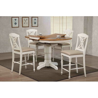Butterfly Back Upholstered Counter Height 5 Piece Pub Table Set Color: Caramel/Biscotti