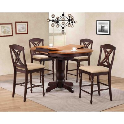 Butterfly Back Upholstered Counter Height 5 Piece Pub Table Set Finish: Whiskey/Mocha