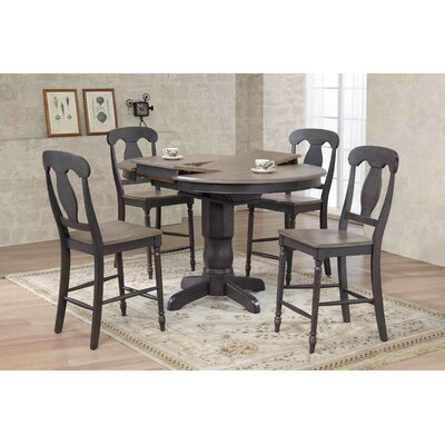 Napoleon Counter Height 5 Piece Pub Table Set Color: Gray Stone/Black Stone